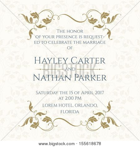 Invitation Card with Floral borders on Seamless Background. Classic Design Page. Wedding invitation Save The Date Valentines Day Birthday Cards. Vector Template Cards.