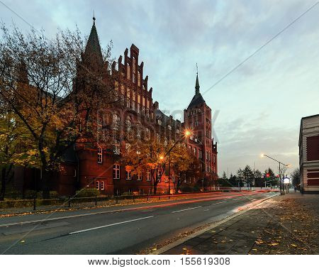 Autumn street in the evening Gliwice Poland Europe.