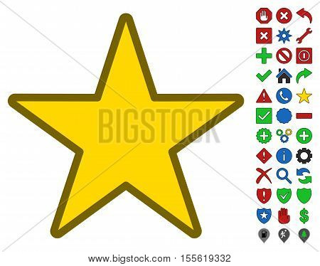 Star interface toolbar pictogram with bright toolbar icon collection. Vector pictograph style is flat symbols with contour edges.