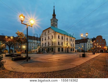 Autumn in market square of Gliwice with town hall in Poland Europe.