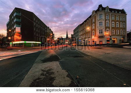 Epic evening on the streets of Gliwice Poland Europe.