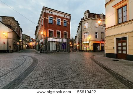 Vintage houses in old town of Gliwice Poland Europe.