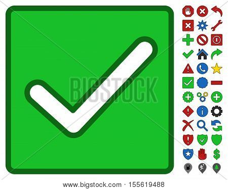 Valid Checkbox interface toolbar pictogram with bright toolbar icon clip art. Vector pictograph style is flat symbols with contour edges.