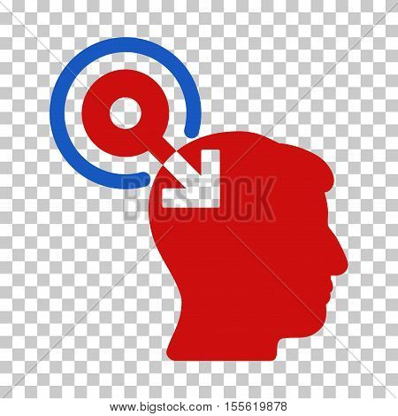 Blue And Red Brain Interface Plug-In interface toolbar pictogram. Vector pictograph style is a flat bicolor symbol on chess transparent background.