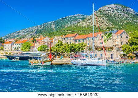 Waterfront view at town Bol, Croatia Europe.