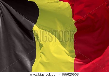 full framedbelgian flag floating in the wind exact colors