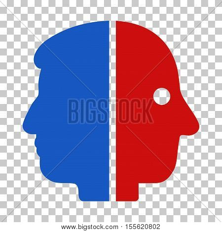 Blue And Red Dual Face interface pictogram. Vector pictograph style is a flat bicolor symbol on chess transparent background.