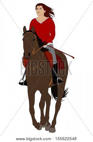 woman riding horse 4 - vector