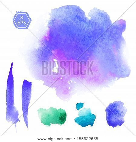 Vector. Set of purple and violet watercolor blots isolated on white background. Watercolor blots for your design, logo, emblem, banner.