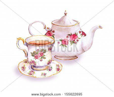 Teacup and tea pot with flowers design. Watercolor