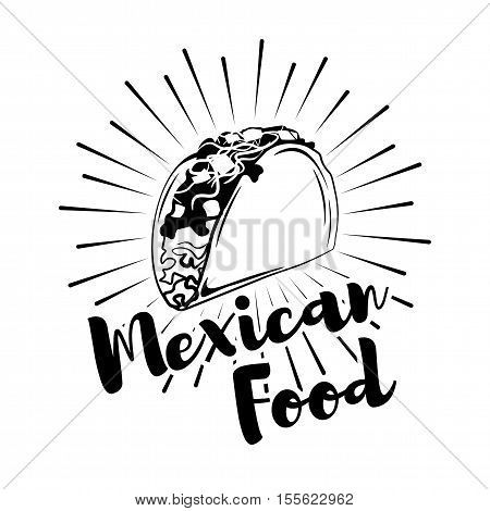 Taco Mexico Food. Traditional Mexican Cuisine. An Isolated Object. Vector Illustration