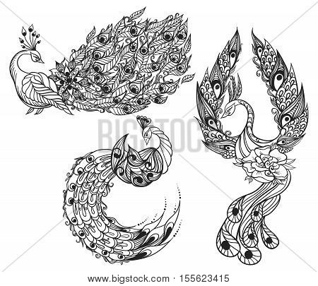 Drawing Of Three Mythical Swans