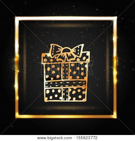 Vector golden sparkle holiday background with gift box. Happy New Year and Merry Christmas luxury glamorous greeting card. Vector golden confetti background.