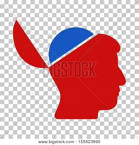 Blue And Red Open Brain toolbar icon. Vector pictogram style is a flat bicolor symbol on chess transparent background.