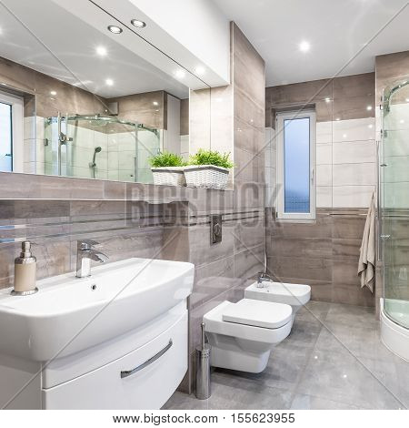 Beige High Gloss Bathroom