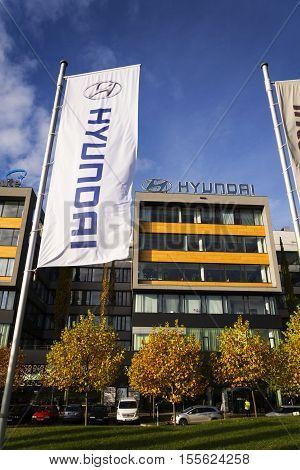 Prague, Czech Republic - November 7: Hyundai Company Logo On Czech Headquarters On November 7, 2016