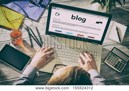 Blog Weblog Media Digital Social Dictionary Online Concept - Stock Image