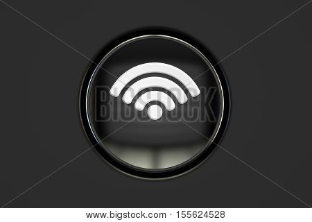 Wi-Fi push button 3D rendering isolated on black background