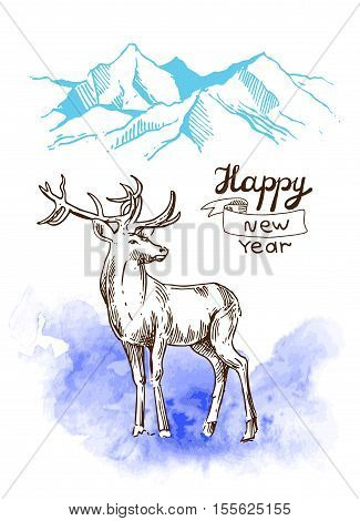 Hand drawn sketch illustration christmas landscape with mauntains and deer. Us for postcard, card, invitations and cristmas decorations.
