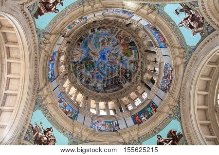 BARCELONA, SPAIN - SEP 13, 2016: The main dome of the National Museum of  Art towers above the Dome Hall.
