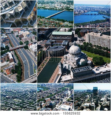 Aerial view images of Boston, MA, USA Collage of photos toned.