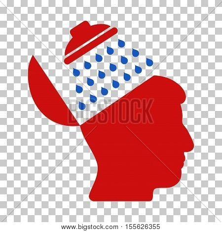 Blue And Red Propaganda Brain Shower interface toolbar icon. Vector pictogram style is a flat bicolor symbol on chess transparent background.