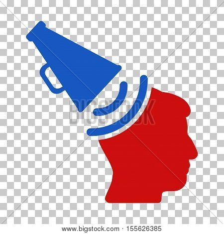 Blue And Red Propaganda Megaphone interface icon. Vector pictograph style is a flat bicolor symbol on chess transparent background.