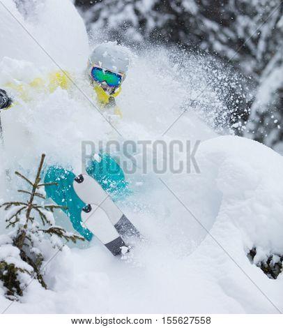 Freeride in fresh powder snow. Skiing.