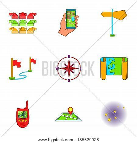 Find way icons set. Cartoon illustration of 9 find way vector icons for web