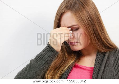Young Woman With Painful Sinus Ache