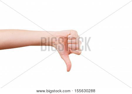 Female hand showing thumb down failure hand sign gesture. Gestures and signs. Body language on white background