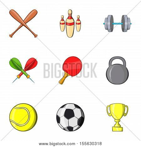 Sports stuff icons set. Cartoon illustration of 9 sports stuff vector icons for web