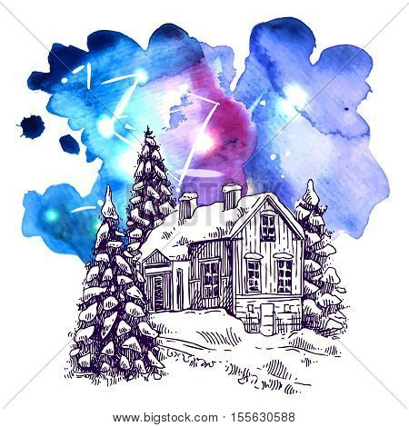 Hand drawn sketch illustration christmas landscape with house and spruce. Us for postcard, card, invitations and christmas decorations.