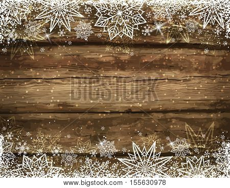 Wooden brown christmas background with snowflakes and stars vector illustration