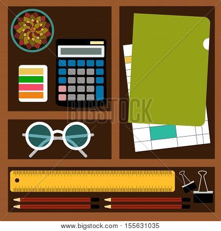 Bookkeeper Vector illustration Objects and tools for the accountant job: calculator documents stationery glasses and plants in cells Top view