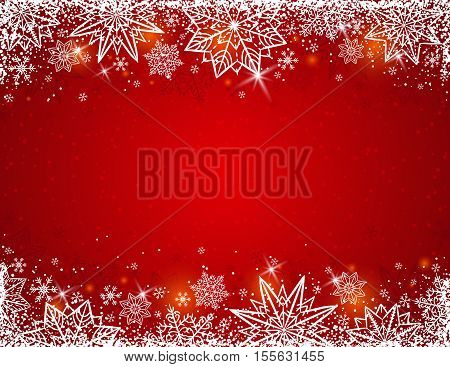 Red background with frame of snowflakes and stars vector illustration