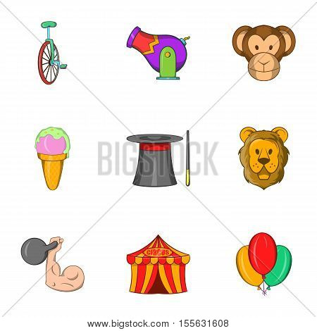 Circus performance icons set. Cartoon illustration of 9 circus performance vector icons for web