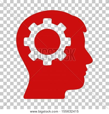 Red Intellect Gear interface pictogram. Vector pictograph style is a flat symbol on chess transparent background.