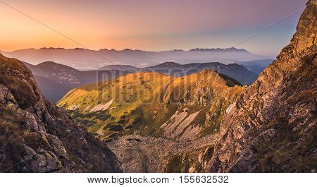 Mountain Landscape in Colourful Sunset. View from Mount Dumbier in Low Tatras Slovakia. West and High Tatras Mountains in Background.