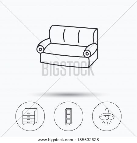 Sofa, ceiling lamp and shelving icons. Chest of drawers linear sign. Linear icons in circle buttons. Flat web symbols. Vector