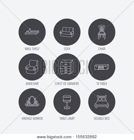 Double bed, table lamp and armchair icons. Chair, lamp and vintage mirror linear signs. Wall shelf, sofa and chest of drawers furniture icons. Linear icons in circle buttons. Flat web symbols. Vector
