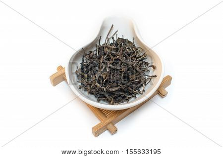 Traditional Chinese tea. Puer tea. Tea on a white background. Sheng Puer