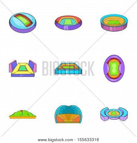 Sport stadium icons set. Cartoon illustration of 9 sport stadium vector icons for web