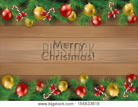 Elegant Christmas background with Christmas toys, candy and tree leaves