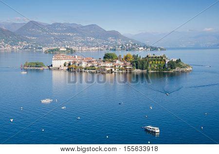ISOLA BELLA, PIEDMONT, ITALY. The Isola Bella in the autumn sunshine.