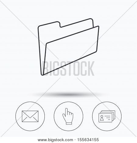 Folder, press hand and contacts icons. Mail linear sign. Linear icons in circle buttons. Flat web symbols. Vector