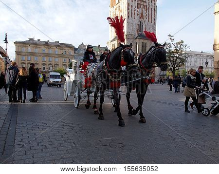 Krakow cab. Krakow, Poland - November 05, 2016 White cab and colorfully decorated horses while crossing the street in Krakow.