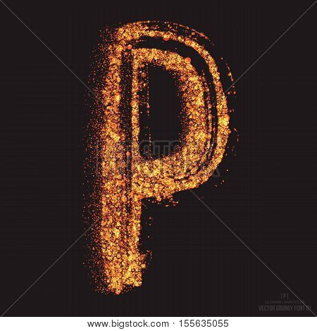 Vector grungy font 001. Letter P. Abstract bright golden shimmer glowing round particles vector background. Scatter shine tinsel light effect. Hand made grunge shape design element poster