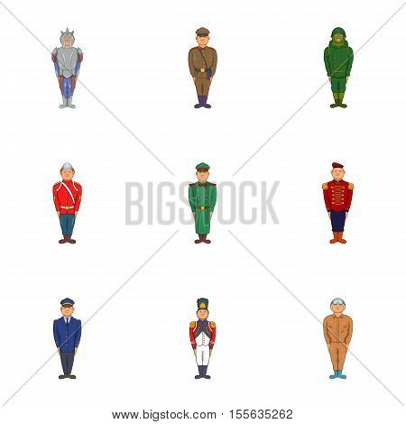 Military icons set. Cartoon illustration of 9 military vector icons for web