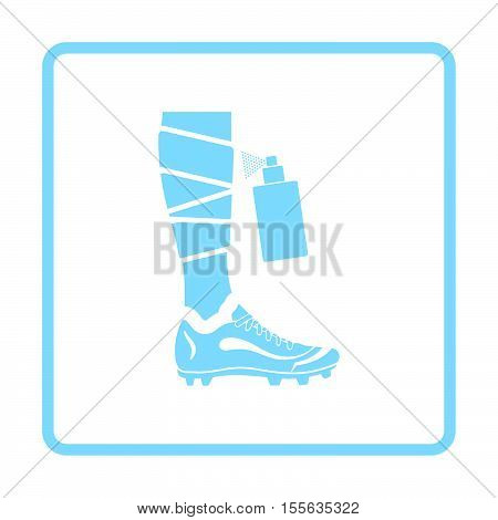 Soccer bandaged leg with aerosol anesthetic icon. Blue frame design. Vector illustration. poster